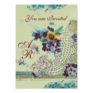 ROMANTİCA Pink Blue Silver Floral Wedding Monogram Card