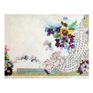 ROMANTICA Pink Blue White Wedding Floral Postcard