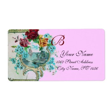 Beach Themed ROMANTICA PINK LILAC FLORAL BEACH WEDDING MONOGRAM LABEL