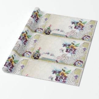 ROMANTİCA / Romantic Floral, Elegant Flower Basket Wrapping Paper