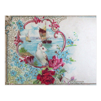 ROMANTICA /ROSES,BLUE FLOWERS,DOVE WITH LETTER POSTCARD