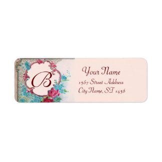 ROMANTICA ROSES,BLUE FLOWERS FLORAL MONOGRAM Pink Label