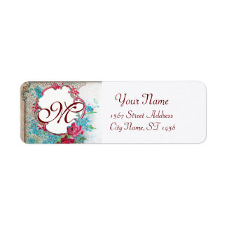 ROMANTICA ROSES,BLUE FLOWERS FLORAL MONOGRAM White Label