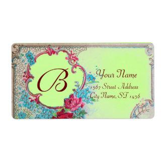 ROMANTICA ROSES,BLUE FLOWERS MONOGRAM Green Floral Label