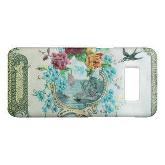 ROMANTICA /ROSES,BLUE FLOWERS WITH BIRD White Case-Mate Samsung Galaxy S8 Case