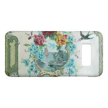 Beach Themed ROMANTICA /ROSES,BLUE FLOWERS WITH BIRD White Case-Mate Samsung Galaxy S8 Case