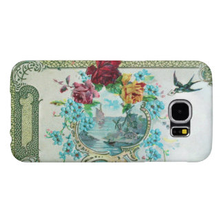 ROMANTICA / ROSES ;BLUE FLOWERS WITH BIRD ,white Samsung Galaxy S6 Case