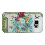 ROMANTICA / ROSES ;BLUE FLOWERS WITH BIRD ,white Samsung Galaxy S6 Cases
