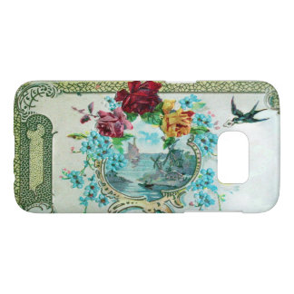 ROMANTICA /ROSES,BLUE FLOWERS WITH BIRD White Samsung Galaxy S7 Case