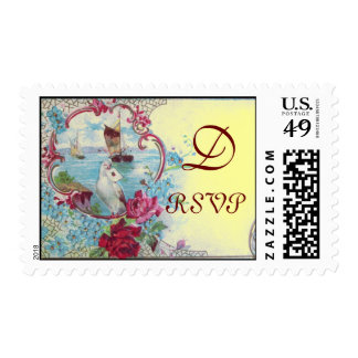 ROMANTICA RSVP MONOGRAM,yellow Postage