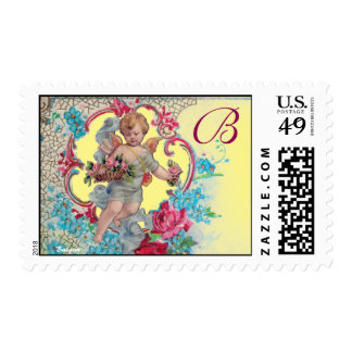 ROMANTICA /VALENTINE CUPID GATHERING PINK ROSES POSTAGE