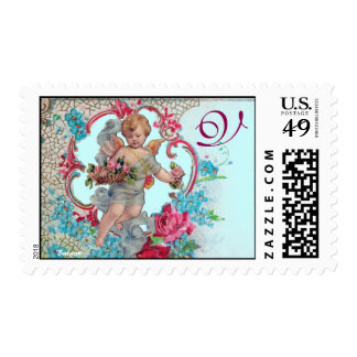 ROMANTICA /VALENTINE CUPID GATHERING PINK ROSES POSTAGE STAMP