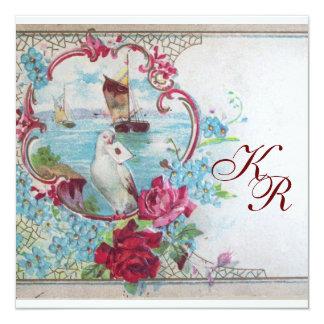 ROMANTİCA/WHITE DOVE,ROSES FLORAL WEDDING MONOGRAM CARD