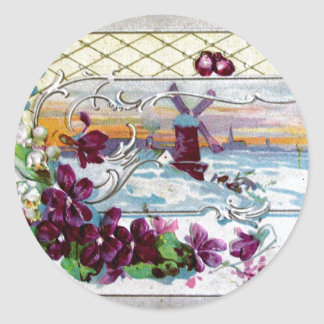 ROMANTICA /WINDMILL IN THE SNOW,PANSIES,SNOWDROPS CLASSIC ROUND STICKER