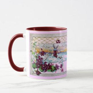 ROMANTICA Winter Landscape,Pansies Floral Monogram Mug