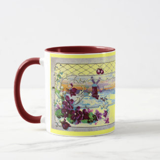 ROMANTICA Winter Landscape,Pansies,Floral Swirls Mug