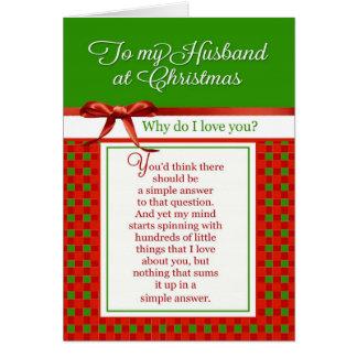 Romántico - a mi marido en el navidad tarjeta