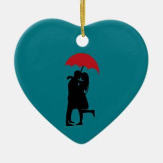 Romántico desesperado adorno navideño de cerámica en forma de corazón