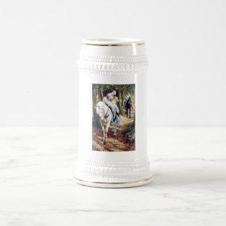 Romántico medieval del caballo blanco de la señora jarra de cerveza