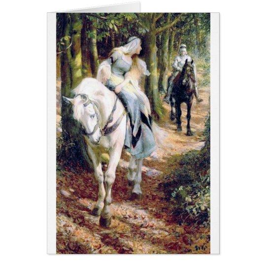 Romántico medieval del caballo blanco de la señora tarjeta de felicitación