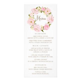 Romántico se ruboriza la tarjeta rosada del menú tarjetas publicitarias