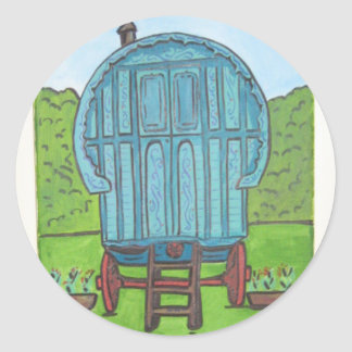 Romany caravan classic round sticker