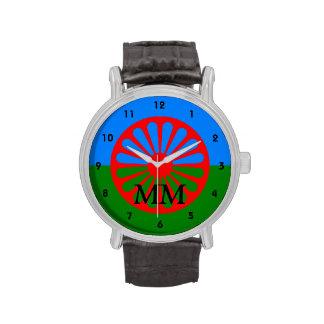 Romany flag monogrammed wristwatch