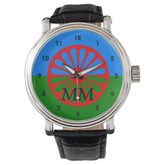 Romany flag monogrammed watch