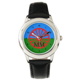 Romany flag monogrammed wrist watch