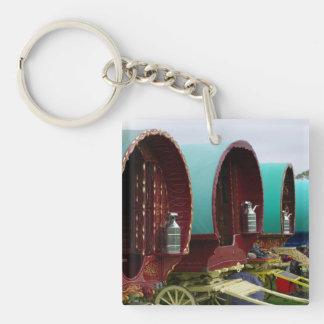 Romany gypsy caravans Double-Sided square acrylic keychain