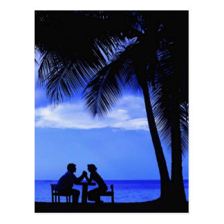 Romatic evening under the palm trees, post card