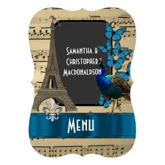 """Romatic París y menú del boda de la hoja de música Invitación 5"""" X 7"""""""