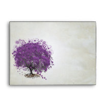 Romatic Purple Heart Leaf Damask Envelope