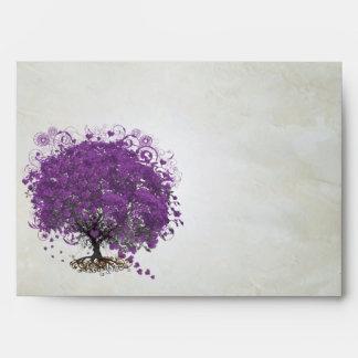 Romatic Purple Heart Leaf Damask Envelope