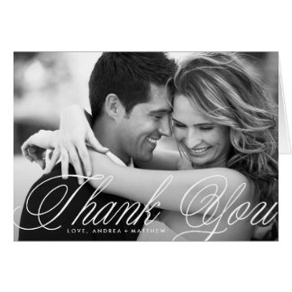 Romatic Script Wedding Thank You Card