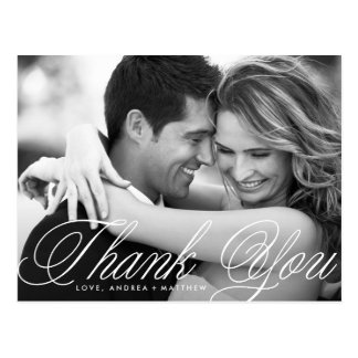 Romatic Script Wedding Thank You Postcard