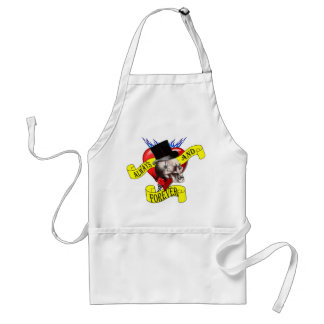 Romatic skull and heart tattoo design adult apron