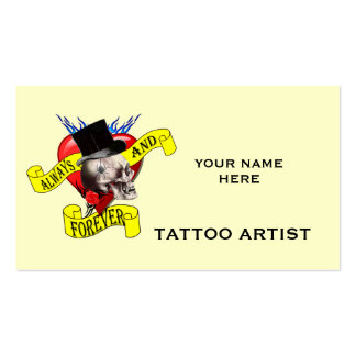 Romatic skull and heart tattoo design business card templates
