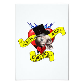 Romatic skull and heart tattoo design card