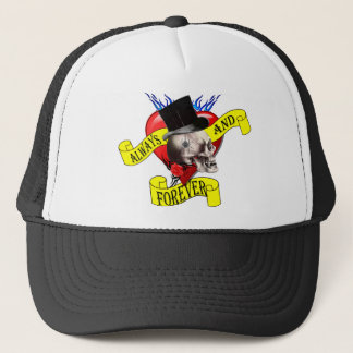 Romatic skull and heart tattoo design trucker hat
