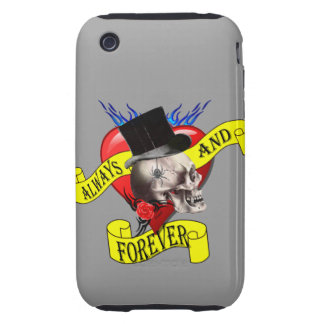 Romatic skull and Valentines love heart tattoo Tough iPhone 3 Covers