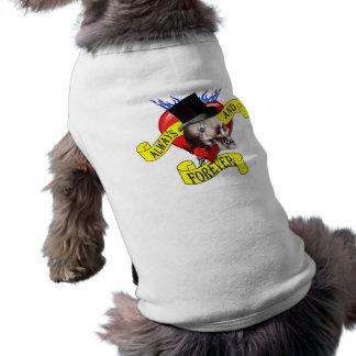 Romatic skull and Valentines love heart tattoo Doggie T Shirt
