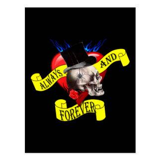 Romatic skull and Valentines love heart tattoo Postcard