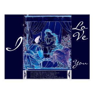 Romatic Sleeping Beauty Kiss Illustration Postcard