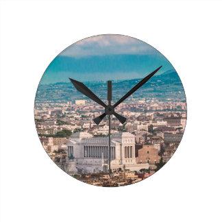 Rome Aerial View at Saint Peter Basilica Viewpoint Round Clock