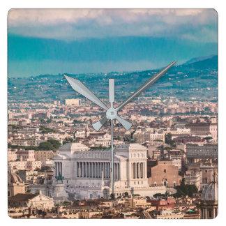 Rome Aerial View at Saint Peter Basilica Viewpoint Square Wall Clock