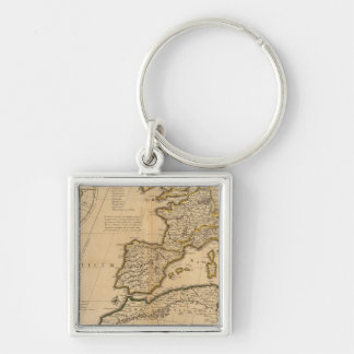 Rome and Eastern Hemisphere Silver-Colored Square Keychain