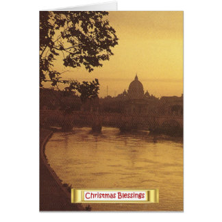 Rome at sunset, River Tiber and St Peter's Card