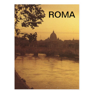 Rome at sunset, River Tiber and St Peter's Postcard
