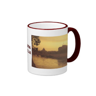 Rome at sunset, River Tiber and St Peter's Ringer Coffee Mug